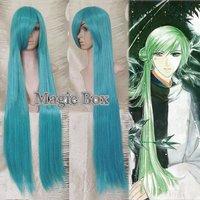 "Haruka Hachiyou Shou Abeno Yasuaki Cosplay Wig Party Hair Dark Green 100cm 39.37"" HIGH QUALITY FREE SHIPPING"