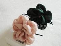 "12pcs/lot. 4"" Fashion big flower hair clip handcrafted hair flower AJB-0096, free shipping(black pink beige ivory green)"