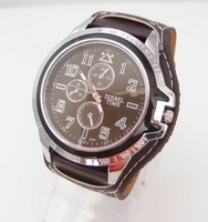 holiday sale  Wholesale New Sport Black Brown White Leather Wrist Watch men fashion quartz watches.ds001