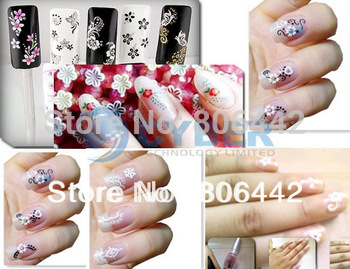 50 x 3D Design Tip Nail Art Sticker Decal Manicure Mix Color Self-adhesive Flower Free Shipping Dropshipping