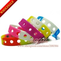 21cm 13PCS ,13 Colors Kids Silicone  Bracelet PVC silicone band<Silicone Wristband for Shoe Charms Kids Partry Favor