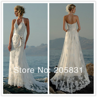 2014 Free Shipping Wholesale New Mermaid Halter Lace Beach White Wedding Dresses OW000012