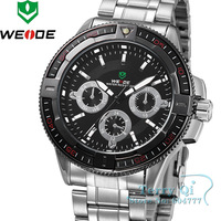 Hot!! NEW WEIDE BLACK ANALOG WRIST MENS QUARTZ STEEL WATCH Wrist watch  Dive Watch  Xmas Gift Free Ship