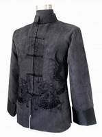 Free Shipping Black Chinese Men's Fleece Embroider Jacket Kung-Fu Coat Dragon Wholesale and retail S-XXXL  M1149