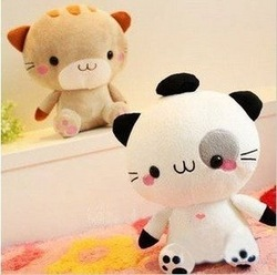 Candice guo! Super cute hot sale plush toy doll cutie mineco cat big face cat stuffed toy two colors to choose 20cm 1pc(China (Mainland))