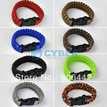 Multi-color Paracord Cord outdoor emergency quick release Survival Bracelet Whistle Buckle Camping 3190