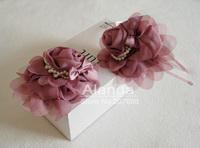 "Retail 4"" fashion chiffon rosette flower headband flounces pearl hairband headwear AJB-0107 free shipping"