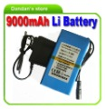 12V DC 9000 mAh Rechargeable Li-ion Battery for CCTV cam,portable