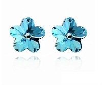 Free shipping~Factory wholesale hot sell fashion romantic plum flower shape crystal Earrings,4pairs/lot