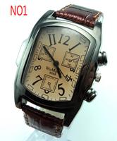 Wholesale fashion leather strap quartz  men watch hot wrist watches men w166
