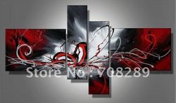 oil paintings on canvas red black white home decoration Modern abstract Oil Painting wall art B226(China (Mainland))