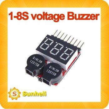 10pcs Lipo Battery Voltage Tester volt meter monitor checker Dual Speaker 1S-8S Low Voltage Buzzer Alarm 2 IN1 2S 3S 4S 6S 7S 8S