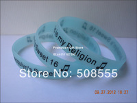 Personalized Design Silicon Wristband, Printed Colour, Glow in Dark, 202X12X2MM, Promotion Gift, 100pcs/Lot