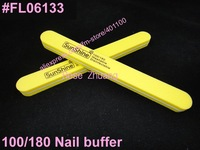 Freeshipping-10pcs  100/180 double side yellow round nail file buffer washable manicure tool  SKU:G0010