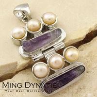 Purple Amethyst Pearl Silver-plated Pendant BP448