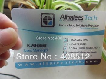 500pcs per design transparen pvc business card visiting card name card printing