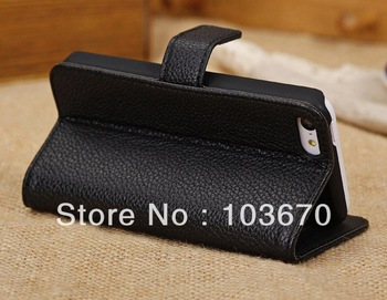 New Book Flip Wallet Leather Case Cover for iPhone 5C Mobile Phone Bag Pouch with Card Holder and Stand, Free Shipping
