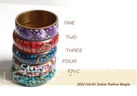 BB-287  Indian colorful brass vintage bangles,70mm,Bohemian Bollywood fashion dancing bracelet,mix order