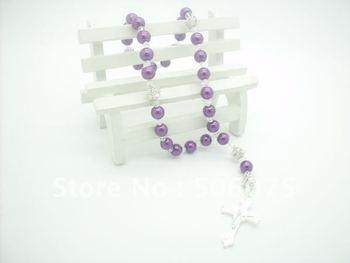 Free shipping 50pcs/lot fashion purple glass pearl cross religious rosary wholesale