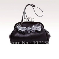 retail free shipping Skull Crystal Finger hand bag/Shoulder bag/fashion bag/elegant bag