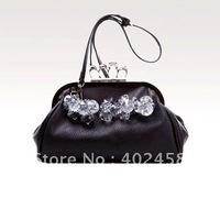 retail free shipping Skull Crystal Finger hand bag/Shoulder bag/fashion bag/elegant bag