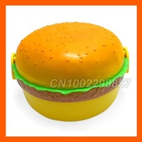 Wholesale 100% New! High quality! + Cute Round Hamburger Shape Bento Lunch Box
