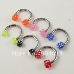 100pcs free shipping 16g 316L Stainless Steel Shaft with 2 acrylic dice Horseshoe ring Circular Barbell wholesale body jewelry(China (Mainland))