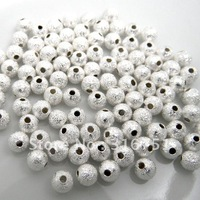 Free Shipping 400pcs Silver Plated Stardust Spacer Beads 4mm Dia.(w00133)