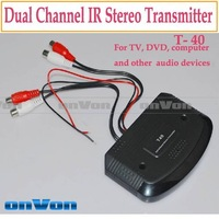 IR Transmitter Dual Channel Stereo Infrared sender for IR Headphone T40 Free shipping