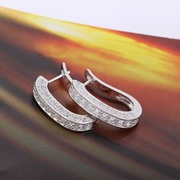 NEW ARRIVAL!!! LADIES' LUXURY PLATINUM PLATED 4.5 CT BRILLIANT CUT GRADE AAA CUBIC ZIRCON DIAMOND HOOP EARRING (110621-07)