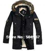 Hot selling-Men's Thicken Winter Hooded  Warm Coats/Outwear/ men's coat fur collar medium-long wadded zipper jacket 0001