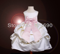 free ship,custom,fancy bow,wedding ,Pageant Party, ball grown flower girls dress ,sholiday dresses for girl,stain,white