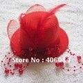 new Party feather Veil  mini HAT red PEARL FASCINATOR  top