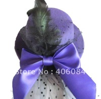 NEW purple mini PARTY hat HAIR clips BOW KNOT fascinator top