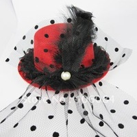 NEW Party feather Veil PEARL RED Mini HAT FASCINATOR  top