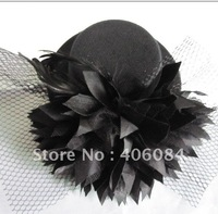 NEW black races/weddings/party veil MINI hat Fascinator TOP