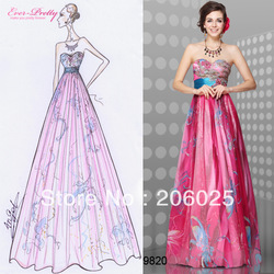 HE09820HP Free Shipping Floral Printed Embroidery Strapless Empire Line Evening Dress(China (Mainland))