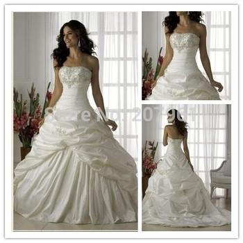 Stock White&ivory taffeta with embroidery Court train Wedding Brides Dress size 6 8 10 12 14 16