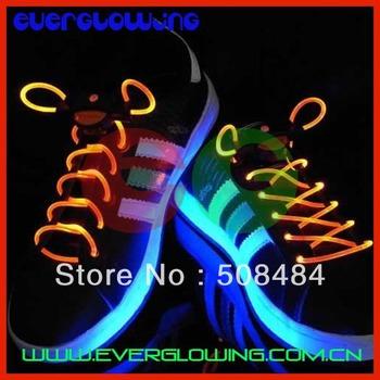 Free shipping 20pcs/lot Colorful LED Flashing Shoelace led shoelace light shoelace light up shoe lace for Christmas