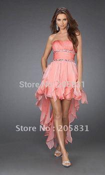 On Sale Free Shipping Hi-Lo Sequined Strapless Beading Tassel Pleat Chiffon Empire Open Back Cocktail Dress Vestido De Festa