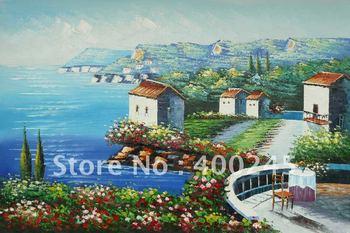 Oil paint,Art gift! Landscape oil painting by famous artist,canvas oil painting for sale,La Villa Di Statisti