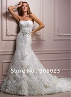 wholesales 2012  A-line strapless white applique wedding dress
