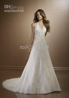 wholesales 2012 v-neck halter  white lace bridal dress