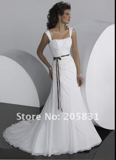 Wholesale! 2012 New! Fashion Mermaid White Ivory Wedding Dresses Chiffon Halter Straps Shining Beaded Embroidery Gown OW293001