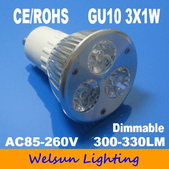 Free shipping 6pcs/lot High Power GU10 3W dimmable GU10 LED lamp, 85-260v 3W LED White spot light(China (Mainland))
