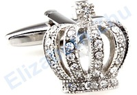 100%High Quality Crown Crystal Cufflinks,Best Man Cufflinks,Fashion Jewelry Sliver Mens Cufflinks for Wedding Dress Mens Shirt