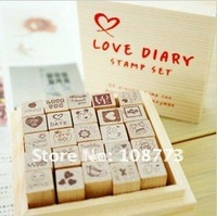 NEW cute schoolbook stamp / Love Diary wooden box / 25 pcs/set / Wholesale ss-37