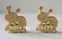 WB005 wood buttons 150pcs 15mm*12.5mm snail cartoon sewing buttons 2 holes children buttons