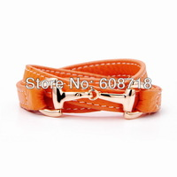 2014 Spring Stylish Orange Color Genuine Leather Bracelet,Ladies Vintage Horsebit Designer Cuff Bracelet.A Perfect Holiday Gift