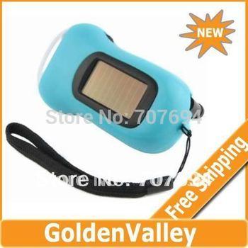$10 off per $300 order Hand Crank Dynamo Solar Power LED Flashlight Torch Light Blue
